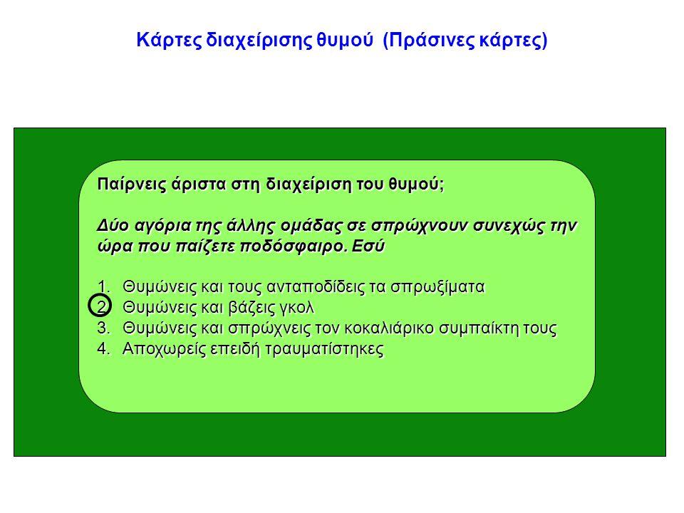 Κάρτες διαχείρισης θυμού (Πράσινες κάρτες) Παίρνεις άριστα στη διαχείριση του θυμού; Δύο αγόρια της άλλης ομάδας σε σπρώχνουν συνεχώς την ώρα που παίζ