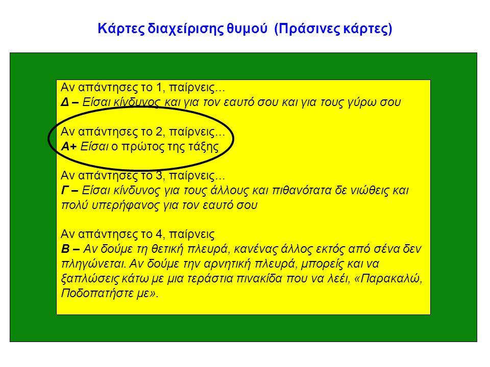 Κάρτες διαχείρισης θυμού (Πράσινες κάρτες) Αν απάντησες το 1, παίρνεις... Δ – Είσαι κίνδυνος και για τον εαυτό σου και για τους γύρω σου Αν απάντησες