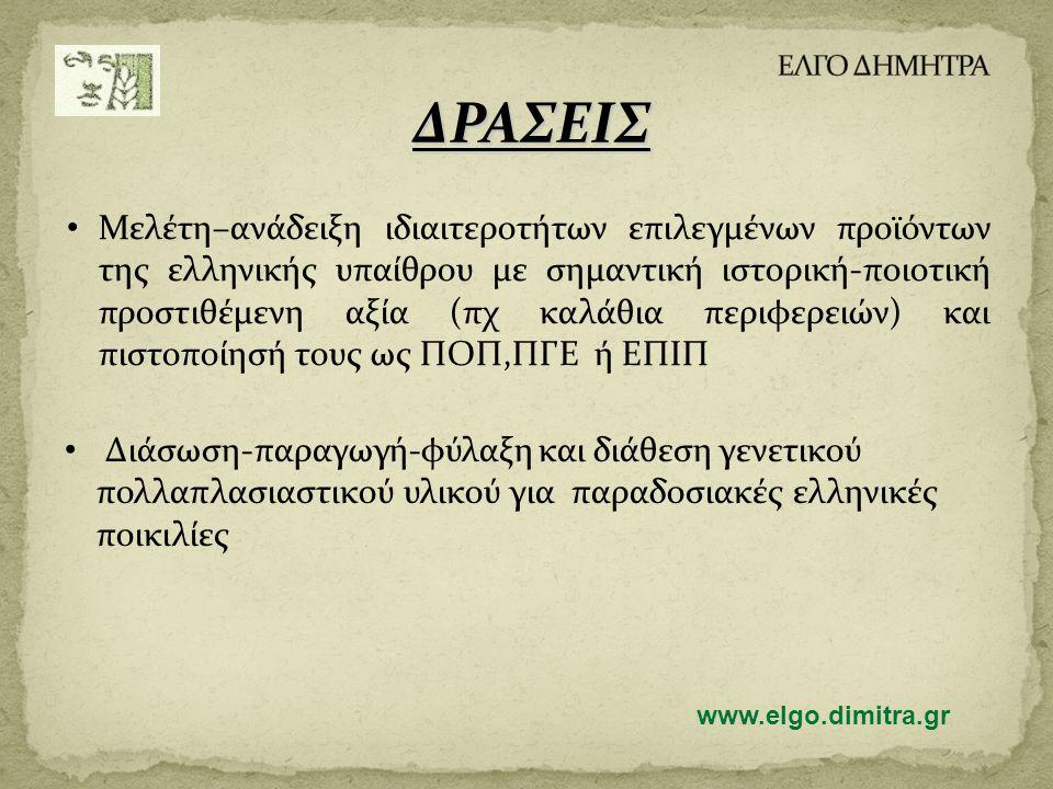 ΔΡΑΣΕΙΣ • Μελέτη–ανάδειξη ιδιαιτεροτήτων επιλεγμένων προϊόντων της ελληνικής υπαίθρου με σημαντική ιστορική-ποιοτική προστιθέμενη αξία (πχ καλάθια περιφερειών) και πιστοποίησή τους ως ΠΟΠ,ΠΓΕ ή ΕΠΙΠ • Διάσωση-παραγωγή-φύλαξη και διάθεση γενετικού πολλαπλασιαστικού υλικού για παραδοσιακές ελληνικές ποικιλίες www.elgo.dimitra.gr