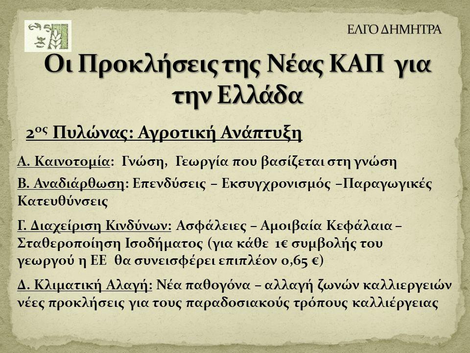 2 ος Πυλώνας: Αγροτική Ανάπτυξη Α. Καινοτομία: Γνώση, Γεωργία που βασίζεται στη γνώση Β. Αναδιάρθωση: Επενδύσεις – Εκσυγχρονισμός –Παραγωγικές Κατευθύ
