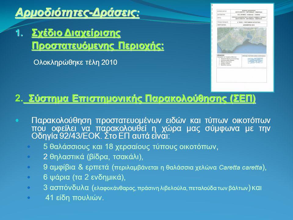 Αρμοδιότητες-Δράσεις : 1. Σχέδιο Διαχείρισης Προστατευόμενης Περιοχής: Ολοκληρώθηκε τέλη 2010 Σύστημα Επιστημονικής Παρακολούθησης (ΣΕΠ) 2. Σύστημα Επ