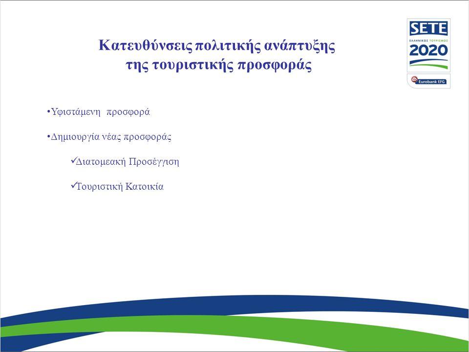 Κατευθύνσεις πολιτικής ανάπτυξης της τουριστικής προσφοράς • Υφιστάμενη προσφορά • Δημιουργία νέας προσφοράς  Διατομεακή Προσέγγιση  Τουριστική Κατο