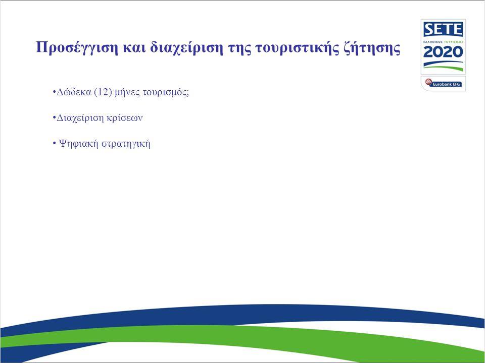 Προσέγγιση και διαχείριση της τουριστικής ζήτησης • Δώδεκα (12) μήνες τουρισμός; • Διαχείριση κρίσεων • Ψηφιακή στρατηγική