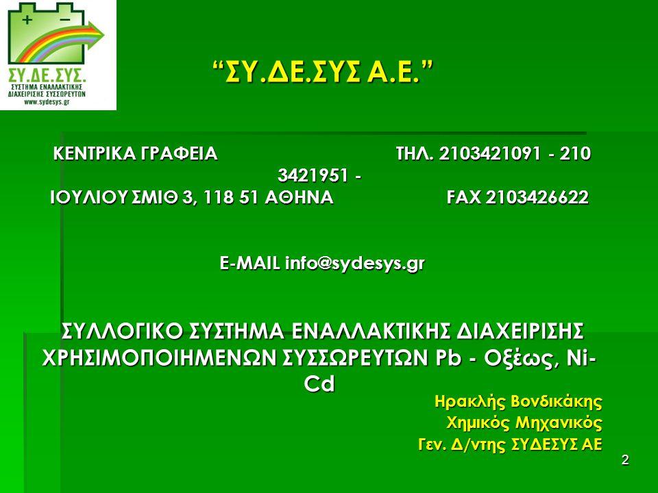 """2 """"ΣΥ.ΔΕ.ΣΥΣ Α.Ε."""" ΚΕΝΤΡΙΚΑ ΓΡΑΦΕΙΑ ΤΗΛ. 2103421091 - 210 3421951 - IΟΥΛΙΟΥ ΣΜΙΘ 3, 118 51 ΑΘΗΝΑ FAX 2103426622 E-MAIL info@sydesys.gr ΣΥΛΛΟΓΙΚΟ ΣΥΣΤΗ"""