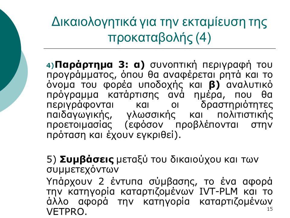 15 Δικαιολογητικά για την εκταμίευση της προκαταβολής (4) 4) Παράρτημα 3: α) συνοπτική περιγραφή του προγράμματος, όπου θα αναφέρεται ρητά και το όνομα του φορέα υποδοχής και β) αναλυτικό πρόγραμμα κατάρτισης ανά ημέρα, που θα περιγράφονται και οι δραστηριότητες παιδαγωγικής, γλωσσικής και πολιτιστικής προετοιμασίας (εφόσον προβλέπονται στην πρόταση και έχουν εγκριθεί).