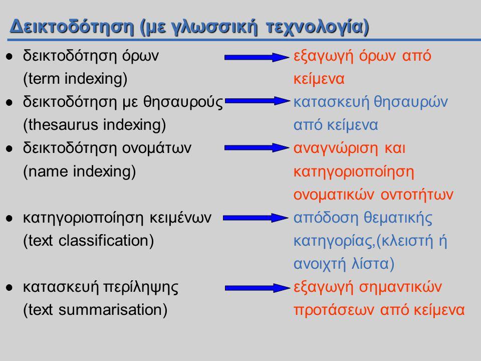 Δεικτοδότηση (με γλωσσική τεχνολογία)  δεικτοδότηση όρωνεξαγωγή όρων από (term indexing)κείμενα  δεικτοδότηση με θησαυρούςκατασκευή θησαυρών (thesaurus indexing)από κείμενα  δεικτοδότηση ονομάτων αναγνώριση και (name indexing)κατηγοριοποίηση ονοματικών οντοτήτων  κατηγοριοποίηση κειμένωναπόδοση θεματικής (text classification)κατηγορίας,(κλειστή ή ανοιχτή λίστα)  κατασκευή περίληψηςεξαγωγή σημαντικών (text summarisation)προτάσεων από κείμενα