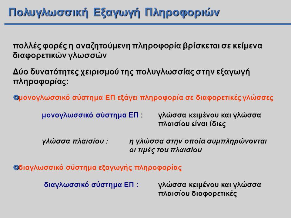 Πολυγλωσσική Εξαγωγή Πληροφοριών πολλές φορές η αναζητούμενη πληροφορία βρίσκεται σε κείμενα διαφορετικών γλωσσών Δύο δυνατότητες χειρισμού της πολυγλωσσίας στην εξαγωγή πληροφορίας:   μονογλωσσικό σύστημα ΕΠ εξάγει πληροφορία σε διαφορετικές γλώσσες μονογλωσσικό σύστημα ΕΠ : γλώσσα κειμένου και γλώσσα πλαισίου είναι ίδιες γλώσσα πλαισίου : η γλώσσα στην οποία συμπληρώνονται οι τιμές του πλαισίου   διαγλωσσικό σύστημα εξαγωγής πληροφορίας διαγλωσσικό σύστημα ΕΠ : γλώσσα κειμένου και γλώσσα πλαισίου διαφορετικές