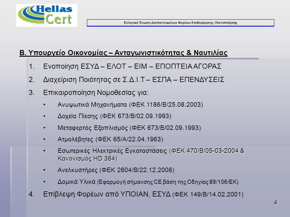 Ελληνική Ένωση Διαπιστευμένων Φορέων Επιθεώρησης- Πιστοποίησης 4 Β.
