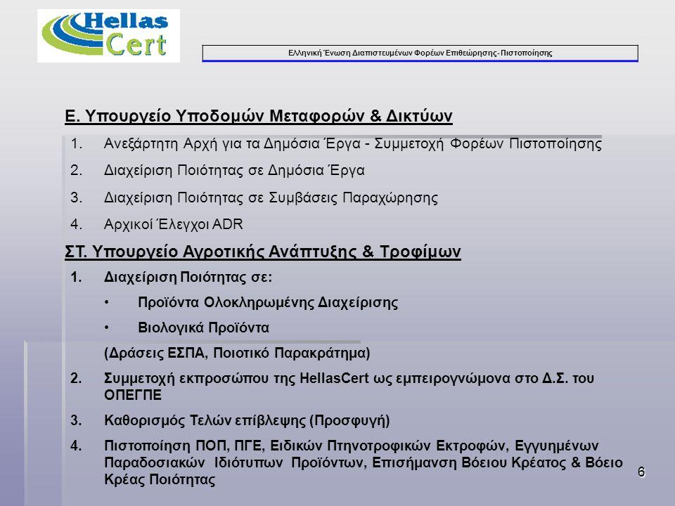 Ελληνική Ένωση Διαπιστευμένων Φορέων Επιθεώρησης- Πιστοποίησης 6 Ε.