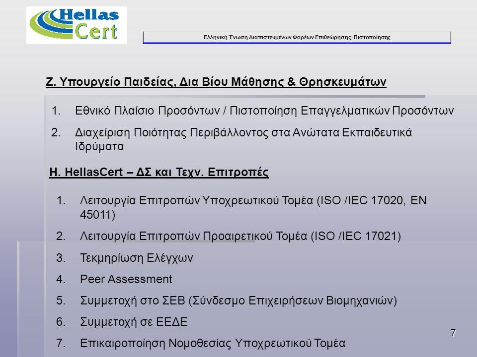 Ελληνική Ένωση Διαπιστευμένων Φορέων Επιθεώρησης- Πιστοποίησης 7 Ζ.