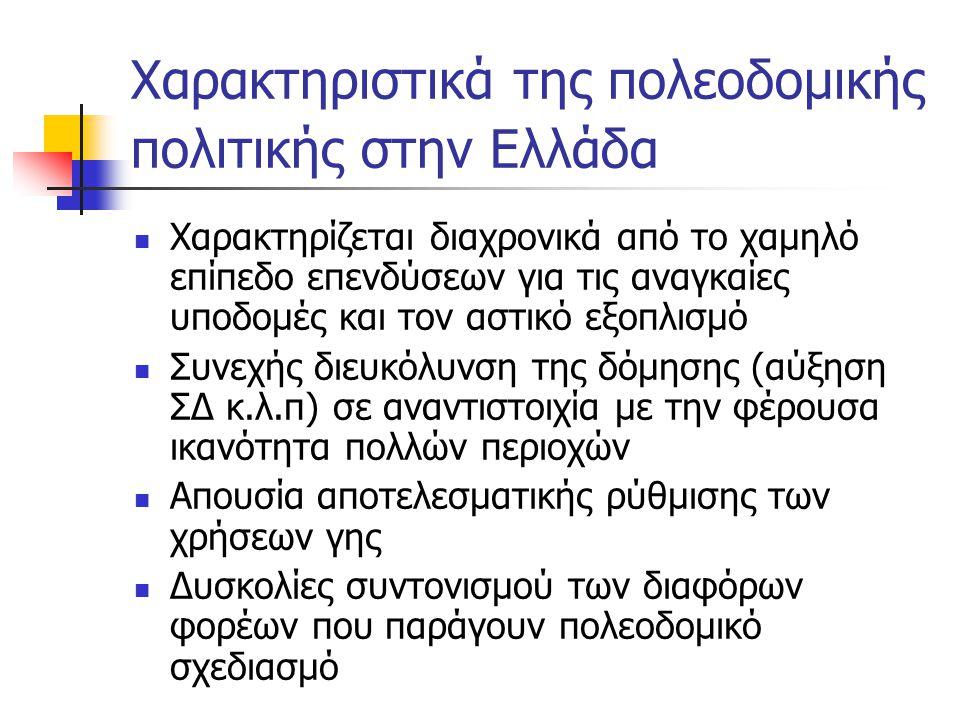 Χαρακτηριστικά της πολεοδομικής πολιτικής στην Ελλάδα  Χαρακτηρίζεται διαχρονικά από το χαμηλό επίπεδο επενδύσεων για τις αναγκαίες υποδομές και τον αστικό εξοπλισμό  Συνεχής διευκόλυνση της δόμησης (αύξηση ΣΔ κ.λ.π) σε αναντιστοιχία με την φέρουσα ικανότητα πολλών περιοχών  Απουσία αποτελεσματικής ρύθμισης των χρήσεων γης  Δυσκολίες συντονισμού των διαφόρων φορέων που παράγουν πολεοδομικό σχεδιασμό