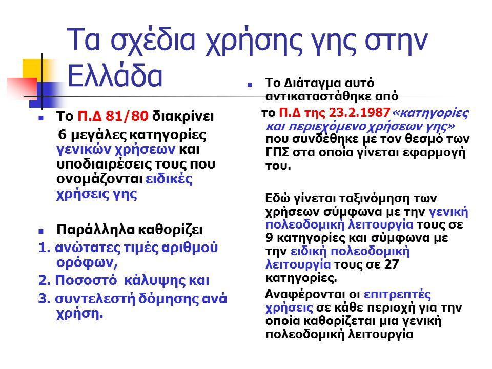 Τα σχέδια χρήσης γης στην Ελλάδα  Το Π.Δ 81/80 διακρίνει 6 μεγάλες κατηγορίες γενικών χρήσεων και υποδιαιρέσεις τους που ονομάζονται ειδικές χρήσεις