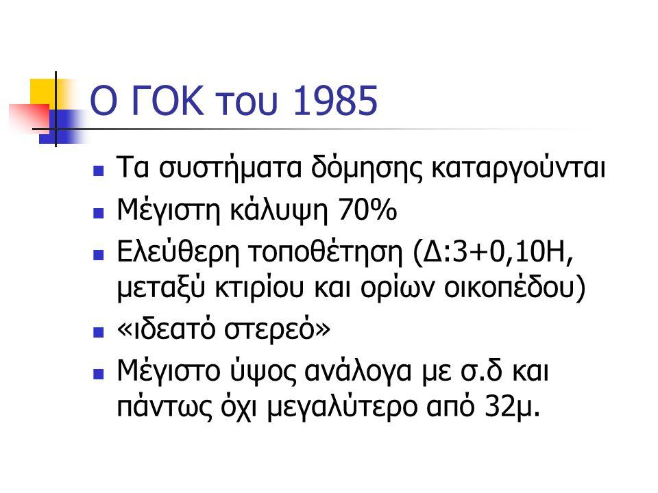 Ο ΓΟΚ του 1985  Τα συστήματα δόμησης καταργούνται  Μέγιστη κάλυψη 70%  Ελεύθερη τοποθέτηση (Δ:3+0,10Η, μεταξύ κτιρίου και ορίων οικοπέδου)  «ιδεατό στερεό»  Μέγιστο ύψος ανάλογα με σ.δ και πάντως όχι μεγαλύτερο από 32μ.