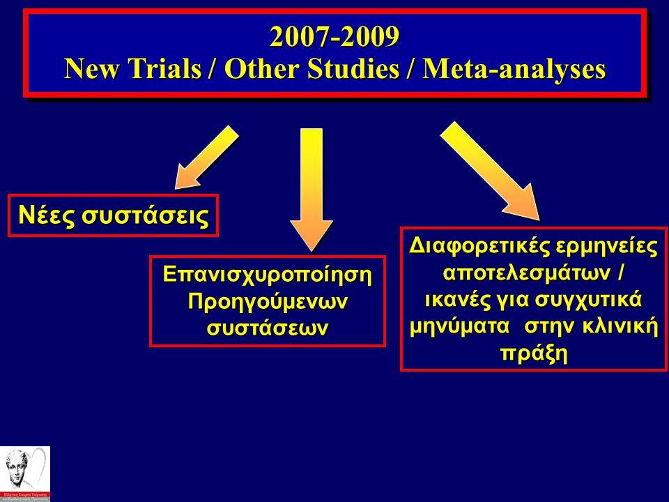 2007-2009 New Trials / Other Studies / Meta-analyses 2007-2009 Νέες συστάσεις Επανισχυροποίηση Προηγούμενων συστάσεων Διαφορετικές ερμηνείες αποτελεσμ