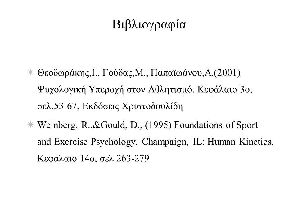 Βιβλιογραφία  Θεοδωράκης,Ι., Γούδας,Μ., Παπαϊωάνου,Α.(2001) Ψυχολογική Υπεροχή στον Αθλητισμό.