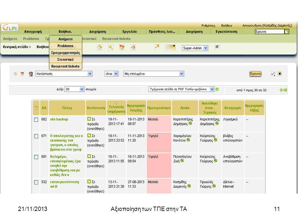 21/11/2013Αξιοποίηση των ΤΠΕ στην ΤΑ11