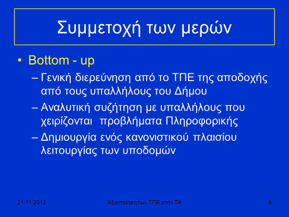 Συμμετοχή των μερών •Bottom - up –Γενική διερεύνηση από το ΤΠΕ της αποδοχής από τους υπαλλήλους του Δήμου –Αναλυτική συζήτηση με υπαλλήλους που χειρίζονται προβλήματα Πληροφορικής –Δημιουργία ενός κανονιστικού πλαισίου λειτουργίας των υποδομών 21/11/2013Αξιοποίηση των ΤΠΕ στην ΤΑ6