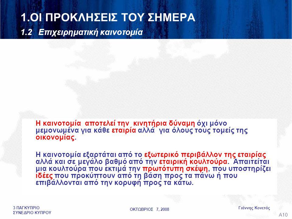 ΟΚΤΩΒΡΙΟΣ 7, 2008 Γιάννης Κονετάς3 ΠΑΓΚΥΠΡΙΟ ΣΥΝΕΔΡΙΟ ΚΥΠΡΟΥ 1.ΟΙ ΠΡΟΚΛΗΣΕΙΣ ΤΟΥ ΣΗΜΕΡΑ 1.2 Επιχειρηματική καινοτομία Η καινοτομία αποτελεί την κινητήρια δύναμη όχι μόνο μεμονωμένα για κάθε εταιρία αλλά για όλους τους τομείς της οικονομίας.