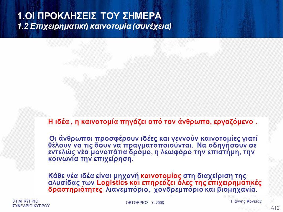 ΟΚΤΩΒΡΙΟΣ 7, 2008 Γιάννης Κονετάς3 ΠΑΓΚΥΠΡΙΟ ΣΥΝΕΔΡΙΟ ΚΥΠΡΟΥ 1.ΟΙ ΠΡΟΚΛΗΣΕΙΣ ΤΟΥ ΣΗΜΕΡΑ 1.2 Επιχειρηματική καινοτομία (συνέχεια) Η ιδέα, η καινοτομία πηγάζει από τον άνθρωπο, εργαζόμενο.