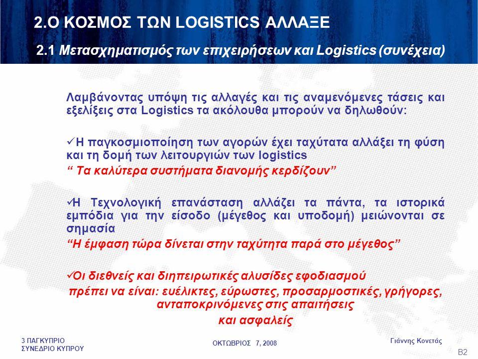 ΟΚΤΩΒΡΙΟΣ 7, 2008 Γιάννης Κονετάς3 ΠΑΓΚΥΠΡΙΟ ΣΥΝΕΔΡΙΟ ΚΥΠΡΟΥ Λαμβάνοντας υπόψη τις αλλαγές και τις αναμενόμενες τάσεις και εξελίξεις στα Logistics τα ακόλουθα μπορούν να δηλωθούν:  Η παγκοσμιοποίηση των αγορών έχει ταχύτατα αλλάξει τη φύση και τη δομή των λειτουργιών των logistics Τα καλύτερα συστήματα διανομής κερδίζουν  Η Τεχνολογική επανάσταση αλλάζει τα πάντα, τα ιστορικά εμπόδια για την είσοδο (μέγεθος και υποδομή) μειώνονται σε σημασία Η έμφαση τώρα δίνεται στην ταχύτητα παρά στο μέγεθος  Οι διεθνείς και διηπειρωτικές αλυσίδες εφοδιασμού πρέπει να είναι: ευέλικτες, εύρωστες, προσαρμοστικές, γρήγορες, ανταποκρινόμενες στις απαιτήσεις και ασφαλείς Β2 2.Ο ΚΟΣΜΟΣ ΤΩΝ LOGISTICS ΑΛΛΑΞΕ 2.1 Μετασχηματισμός των επιχειρήσεων και Logistics (συνέχεια)
