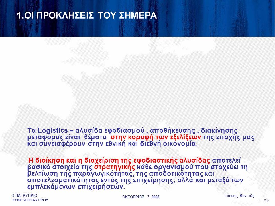 ΟΚΤΩΒΡΙΟΣ 7, 2008 Γιάννης Κονετάς3 ΠΑΓΚΥΠΡΙΟ ΣΥΝΕΔΡΙΟ ΚΥΠΡΟΥ 1.ΟΙ ΠΡΟΚΛΗΣΕΙΣ ΤΟΥ ΣΗΜΕΡΑ Τα Logistics – αλυσίδα εφοδιασμού, αποθήκευσης, διακίνησης μεταφοράς είναι θέματα στην κορυφή των εξελίξεων της εποχής μας και συνεισφέρουν στην εθνική και διεθνή οικονομία.