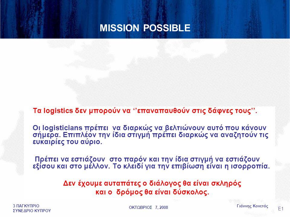 ΟΚΤΩΒΡΙΟΣ 7, 2008 Γιάννης Κονετάς3 ΠΑΓΚΥΠΡΙΟ ΣΥΝΕΔΡΙΟ ΚΥΠΡΟΥ MISSION POSSIBLE Τα logistics δεν μπορούν να ''επαναπαυθούν στις δάφνες τους''.