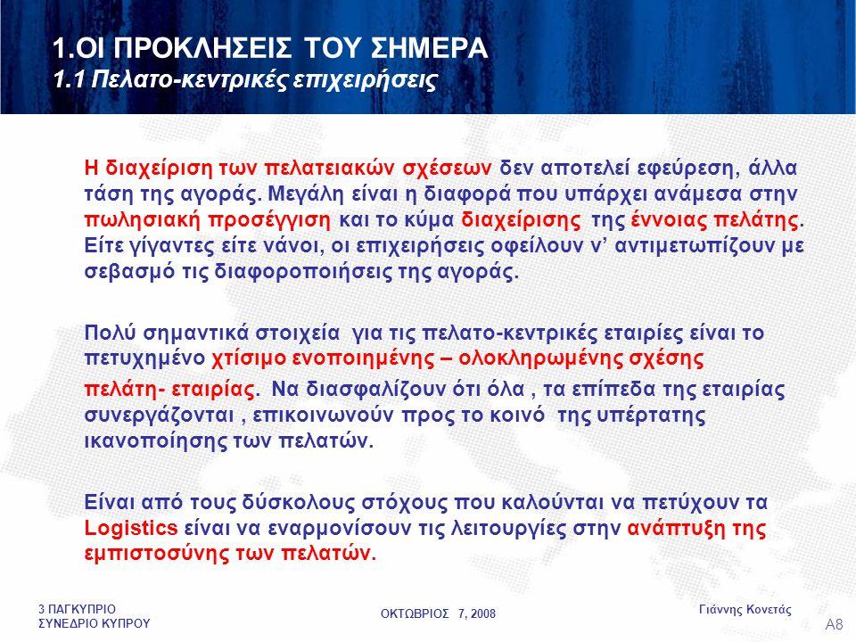 ΟΚΤΩΒΡΙΟΣ 7, 2008 Γιάννης Κονετάς3 ΠΑΓΚΥΠΡΙΟ ΣΥΝΕΔΡΙΟ ΚΥΠΡΟΥ DEVELOPMENTAL THINKING IN LOGISTICS LOGISTICS AWARENESS SPECIFIC KNOWLEDGE AND SKILLS IN SUPPLY CHAIN • IMPLEMENTATION KNOWLEDGE COMPETENCES SKILLS •INTEGRATED LOGISTICS STRATEGIES ANALYSIS • ANALYSIS • (RE) DESIGN • EVALUATION • OPERATION LEADERSHIPMANAGEMENTSKILLS MONITOR • MONITOR FUNCTIONSTECHNICALSKILLS MANAGERIAL LEVEL STRATEGIC LEVEL SKILLED WORKERS LEVEL MANAGERIAL SUPPORT ASSISTANCE FUNCTIONS OPERATORS LOGISTICIANS 3.QUO VADIS LOGISTICIANS.