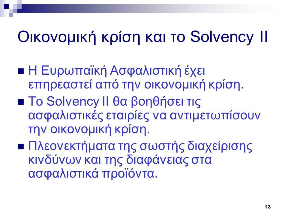 13 Οικονομική κρίση και το Solvency II  H Ευρωπαϊκή Ασφαλιστική έχει επηρεαστεί από την οικονομική κρίση.  Το Solvency II θα βοηθήσει τις ασφαλιστικ