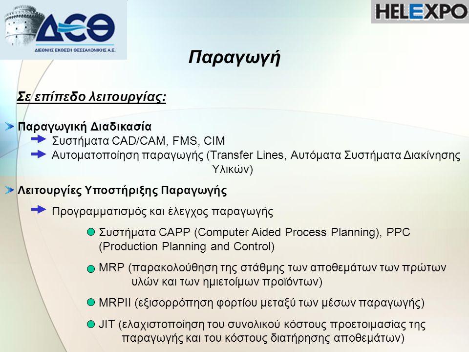 Παραγωγή Σε επίπεδο λειτουργίας: Προγραμματισμός και Έλεγχος Αποθεμάτων (κινήσεις αποθηκών, πληροφόρηση αποθεμάτων) Ποιοτικός Έλεγχος Συντήρηση εξοπλισμού Προληπτική Συντήρηση Προβλεπτική Συντήρηση Κοστολόγηση