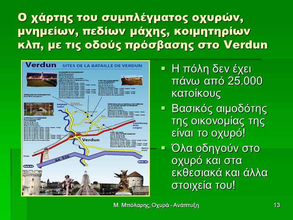 Μ. Μπόλαρης, Οχυρά - Ανάπτυξη13 Ο χάρτης του συμπλέγματος οχυρών, μνημείων, πεδίων μάχης, κοιμητηρίων κλπ, με τις οδούς πρόσβασης στο Verdun  Η πόλη