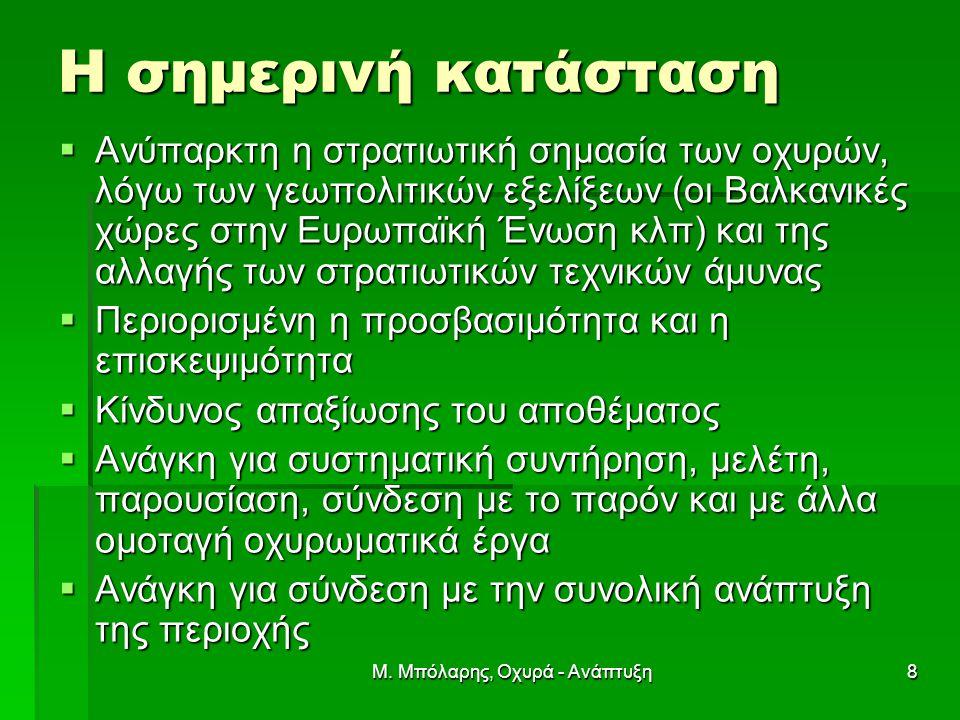 Μ. Μπόλαρης, Οχυρά - Ανάπτυξη8 Η σημερινή κατάσταση  Ανύπαρκτη η στρατιωτική σημασία των οχυρών, λόγω των γεωπολιτικών εξελίξεων (οι Βαλκανικές χώρες