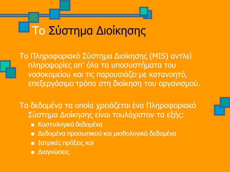 Το Σύστημα Διοίκησης Το Πληροφοριακό Σύστημα Διοίκησης (MIS) αντλεί πληροφορίες απ' όλα τα υποσυστήματα του νοσοκομείου και τις παρουσιάζει με κατανοη