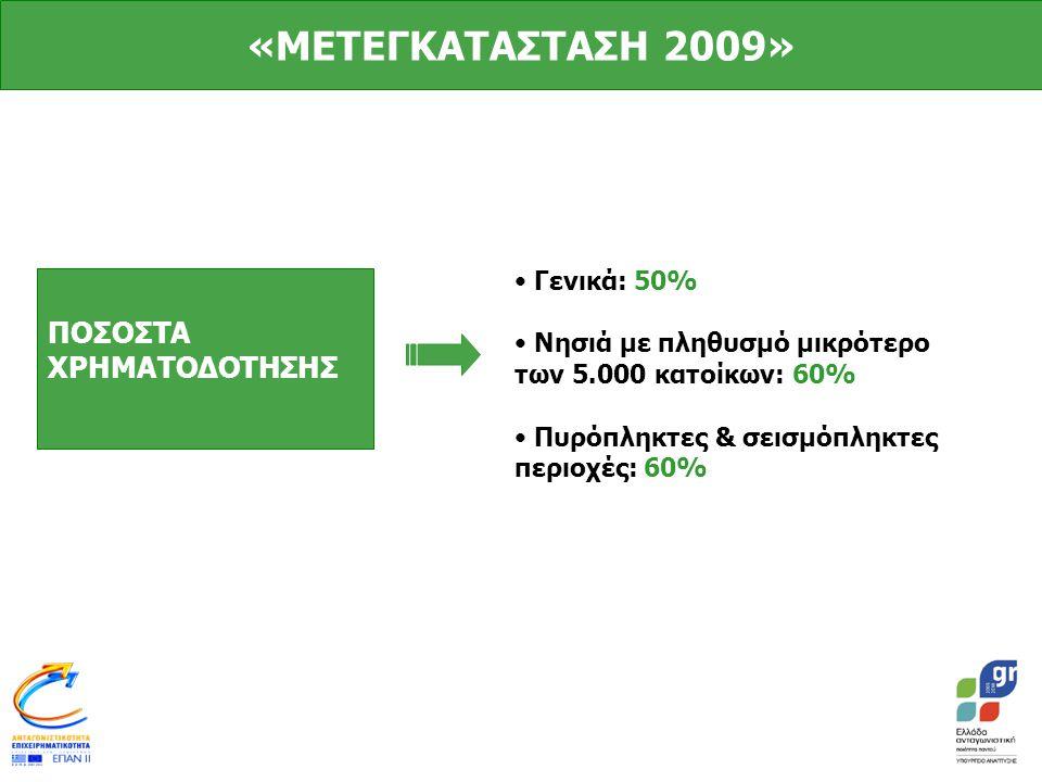 ΠΟΣΟΣΤΑ ΧΡΗΜΑΤΟΔΟΤΗΣΗΣ • Γενικά: 50% • Νησιά με πληθυσμό μικρότερο των 5.000 κατοίκων: 60% • Πυρόπληκτες & σεισμόπληκτες περιοχές: 60% «ΜΕΤΕΓΚΑΤΑΣΤΑΣΗ 2009»