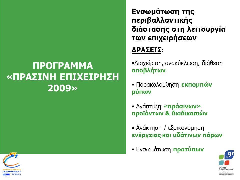 ΠΡΟΓΡΑΜΜΑ «ΠΡΑΣΙΝΗ ΕΠΙΧΕΙΡΗΣΗ 2009» Ενσωμάτωση της περιβαλλοντικής διάστασης στη λειτουργία των επιχειρήσεων ΔΡΑΣΕΙΣ: •Διαχείριση, ανακύκλωση, διάθεση αποβλήτων • Παρακολούθηση εκπομπών ρύπων • Ανάπτυξη «πράσινων» προϊόντων & διαδικασιών • Ανάκτηση / εξοικονόμηση ενέργειας και υδάτινων πόρων • Ενσωμάτωση προτύπων