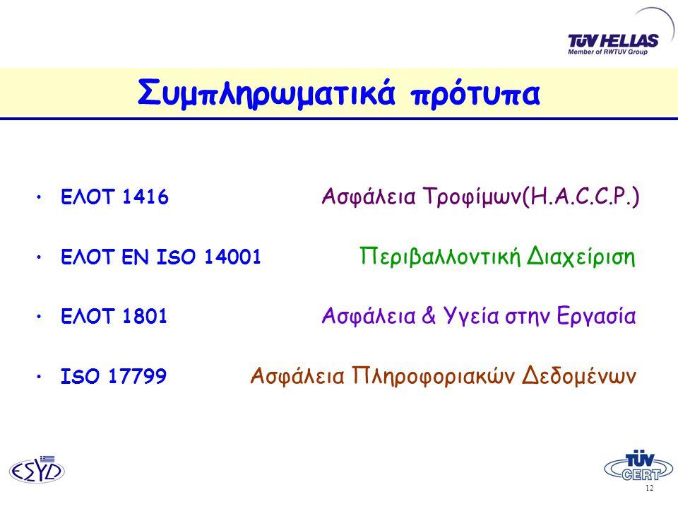 12 Συμπληρωματικά πρότυπα •ΕΛΟΤ 1416 Ασφάλεια Τροφίμων(H.A.C.C.P.) •ΕΛΟΤ ΕΝ ISO 14001 Περιβαλλοντική Διαχείριση •ΕΛΟΤ 1801 Ασφάλεια & Υγεία στην Εργασία •ISO 17799 Ασφάλεια Πληροφοριακών Δεδομένων