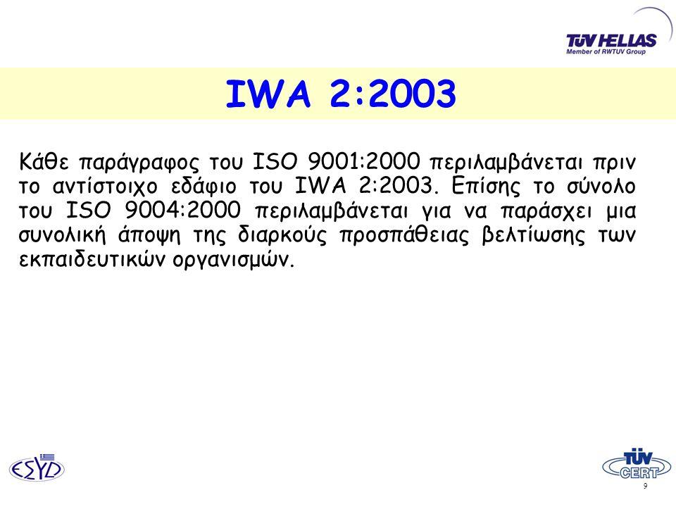 9 IWA 2:2003 Κάθε παράγραφος του ISO 9001:2000 περιλαμβάνεται πριν το αντίστοιχο εδάφιο του IWA 2:2003. Επίσης το σύνολο του ISO 9004:2000 περιλαμβάνε