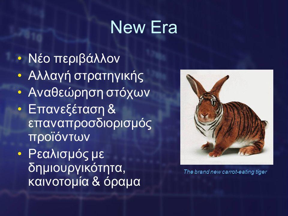 New Era •Νέο περιβάλλον •Αλλαγή στρατηγικής •Αναθεώρηση στόχων •Επανεξέταση & επαναπροσδιορισμός προϊόντων •Ρεαλισμός με δημιουργικότητα, καινοτομία & όραμα The brand new carrot-eating tiger