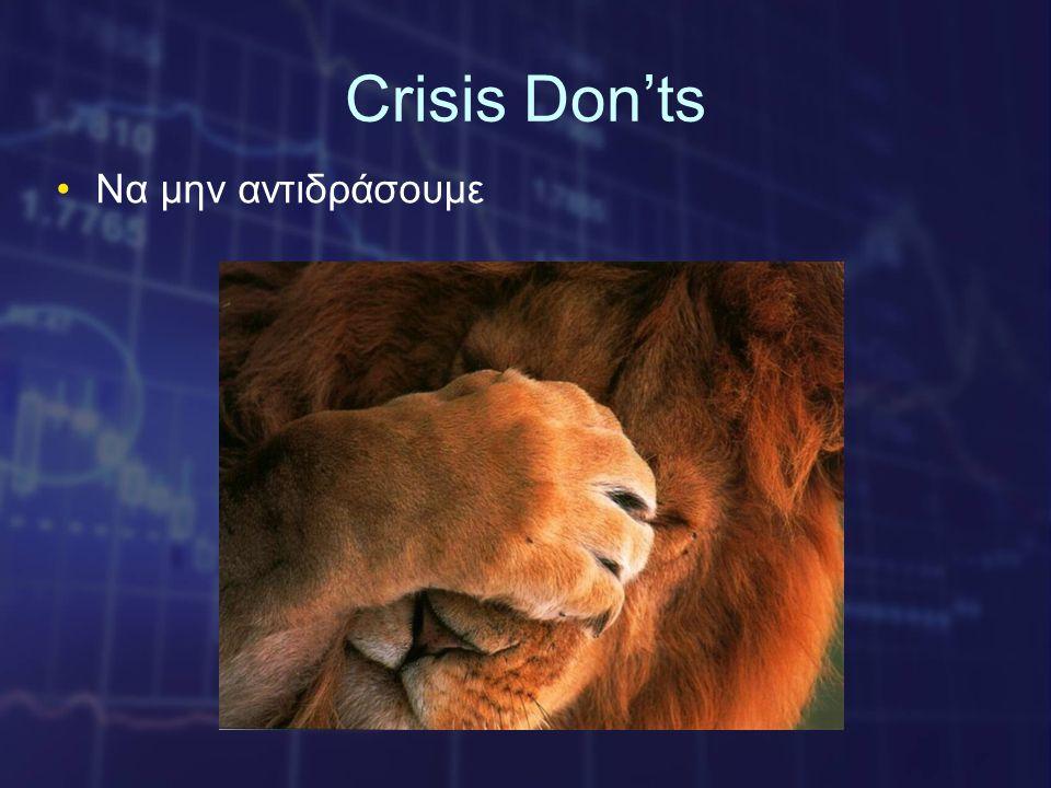 Crisis Don'ts •Nα μην αντιδράσουμε