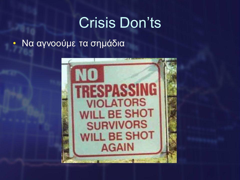 Crisis Don'ts •Να αγνοούμε τα σημάδια