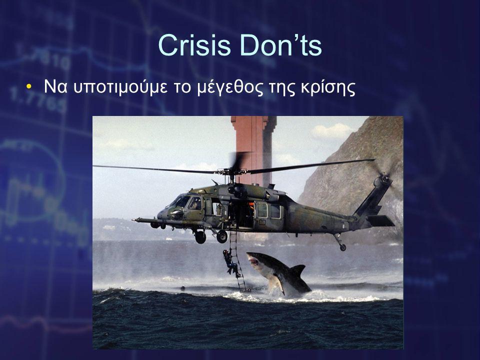 Crisis Don'ts •Να υποτιμούμε το μέγεθος της κρίσης