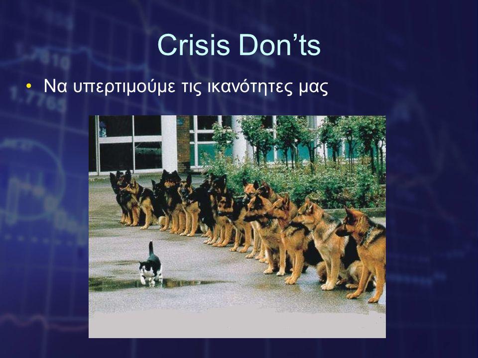 Crisis Don'ts •Να υπερτιμούμε τις ικανότητες μας