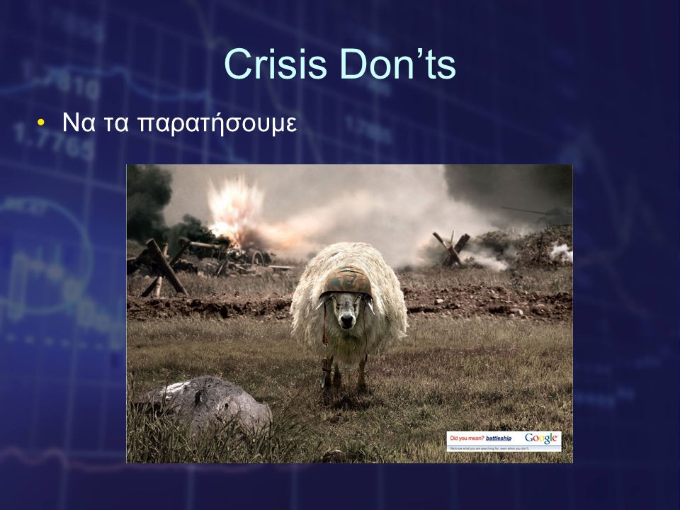 Crisis Don'ts •Να τα παρατήσουμε