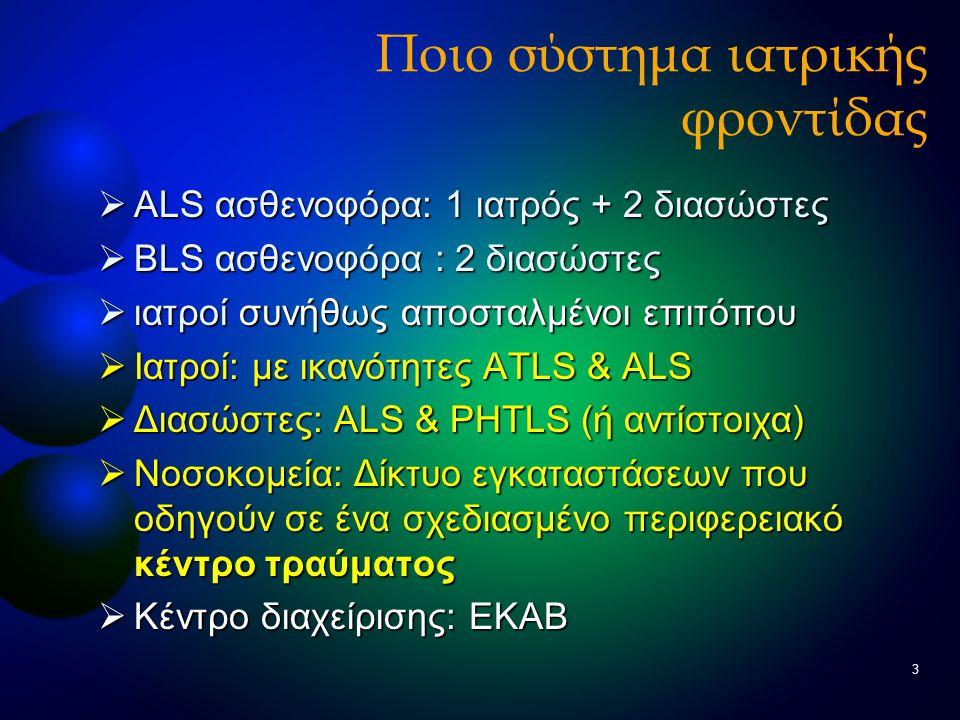 3 Ποιο σύστημα ιατρικής φροντίδας  ALS ασθενοφόρα: 1 ιατρός + 2 διασώστες  BLS ασθενοφόρα : 2 διασώστες  ιατροί συνήθως αποσταλμένοι επιτόπου  Ιατ
