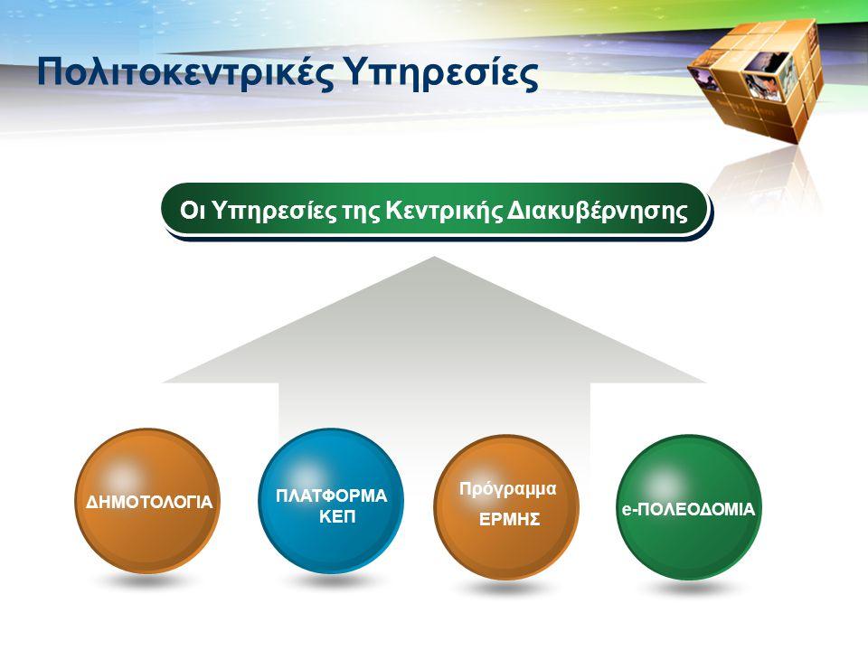 LOGO Πολιτοκεντρικές Υπηρεσίες Οι Υπηρεσίες της Κεντρικής Διακυβέρνησης e-ΠΟΛΕΟΔΟΜΙΑ ΠΛΑΤΦΟΡΜΑ ΚΕΠ ΔΗΜΟΤΟΛΟΓΙΑ Πρόγραμμα ΕΡΜΗΣ