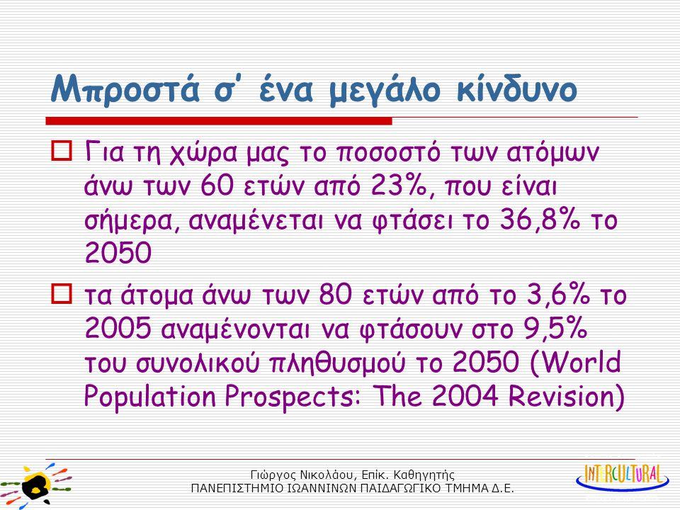 Γιώργος Νικολάου, Επίκ. Καθηγητής ΠΑΝΕΠΙΣΤΗΜΙΟ ΙΩΑΝΝΙΝΩΝ ΠΑΙΔΑΓΩΓΙΚΟ ΤΜΗΜΑ Δ.Ε. Μπροστά σ' ένα μεγάλο κίνδυνο  Για τη χώρα μας το ποσοστό των ατόμων