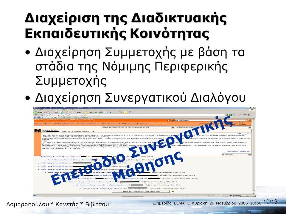 Λαμπροπούλου * Κονετάς * Βιβίτσου Διημερίδα ΕΕΜΑΠΕ Κυριακή 26 Νοεμβρίου 2006 10:50 10/13 Διαχείριση της Διαδικτυακής Εκπαιδευτικής Κοινότητας •Διαχείρ