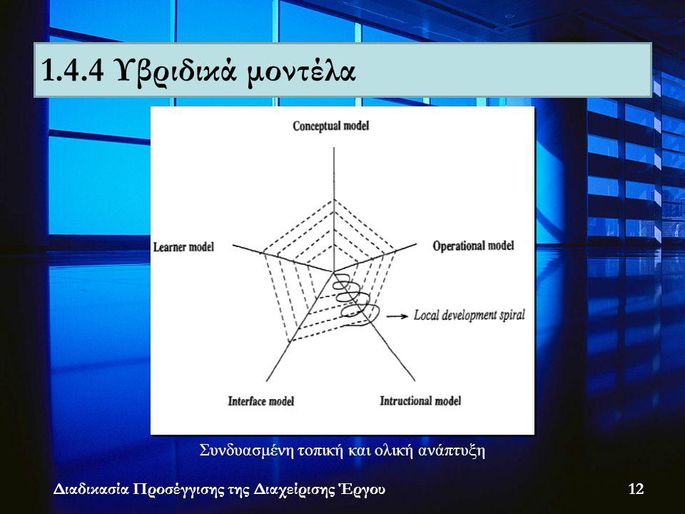 Διαδικασία Προσέγγισης της Διαχείρισης Έργου Συνδυασμένη τοπική και ολική ανάπτυξη 1.4.4 Υβριδικά μοντέλα 12