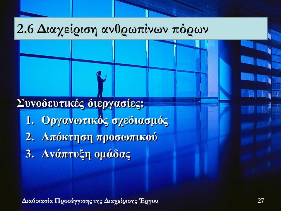 Συνοδευτικές διεργασίες: 1.Οργανωτικός σχεδιασμός 2.Απόκτηση προσωπικού 3.Ανάπτυξη ομάδας Συνοδευτικές διεργασίες: 1.Οργανωτικός σχεδιασμός 2.Απόκτηση προσωπικού 3.Ανάπτυξη ομάδας Διαδικασία Προσέγγισης της Διαχείρισης Έργου 2.6 Διαχείριση ανθρωπίνων πόρων 27
