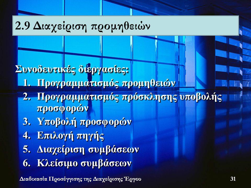 Συνοδευτικές διεργασίες: 1.Προγραμματισμός προμηθειών 2.Προγραμματισμός πρόσκλησης υποβολής προσφορών 3.Υποβολή προσφορών 4.Επιλογή πηγής 5.Διαχείριση