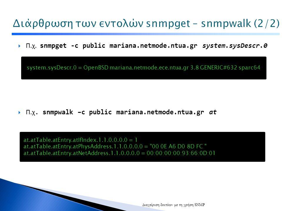  Π.χ.snmpget -c public mariana.netmode.ntua.gr system.sysDescr.0  Π.χ.